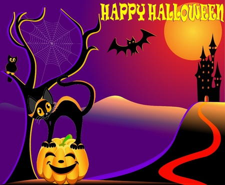 illustration festive halloween background with cat by house by pumpkin and eagle owl Vector