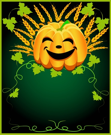 illustration background for message with pumpkin and ear Vector