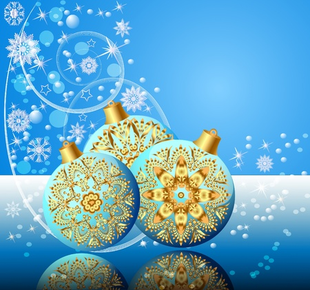 illustration background with festive ball and snowflake with reflection Stock Vector - 10835998