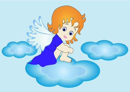 illustration small angel sits on cloud in sky Vector