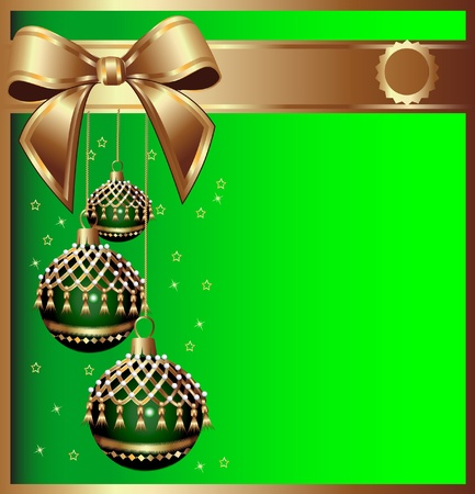 illustration background with bow on cristmas and ball with tassel Vector