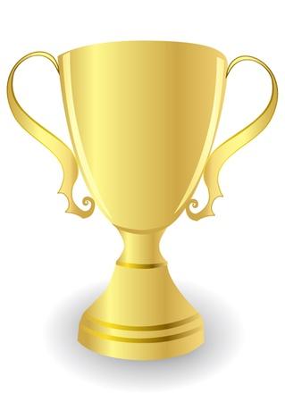 trophy award: taza de ilustraci�n de oro aislados sobre fondo blanco Vectores