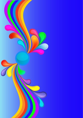 illustration colorful background with rainbow and drop Vector