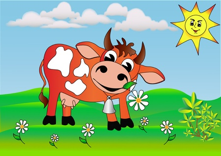 the illustration merry cow with daisy wheel on meadow. Vector