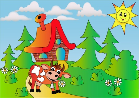illustration  cow near by lodge Vector