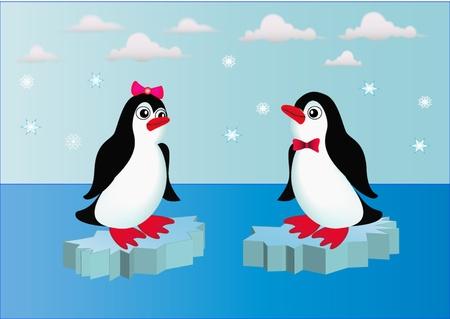 illustratie pinguins op blok ijs met strikje Vector Illustratie