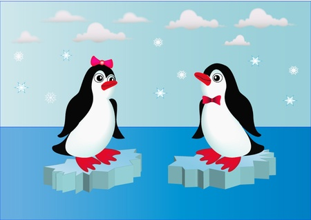 igloo:  illustration penguins on block of ice with bow