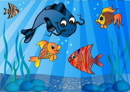 perks:  illustration of the fish in undersea world