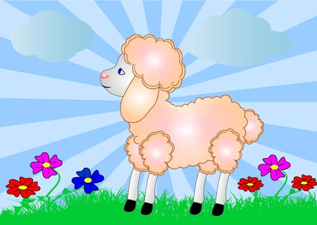 bleating:  illustration sheep on background of the nature and flower