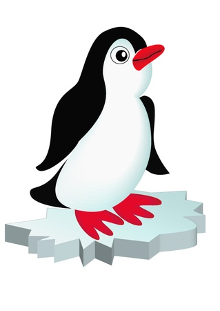 illustration penguin on block of ice is insulated
