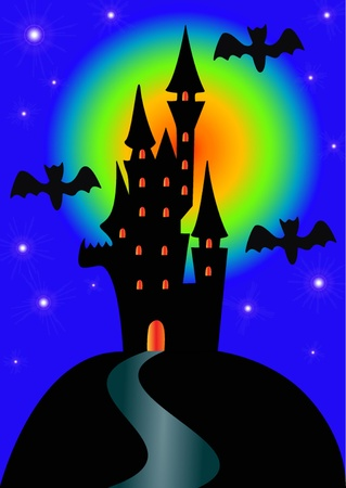 illustration night lock and bat on holiday halloween Vector