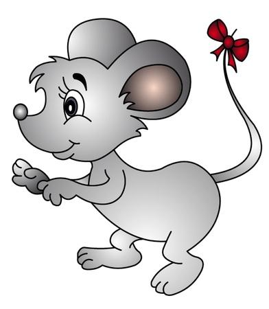 myszy: mysz ilustracja z kokardką na ogonie