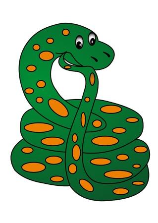 king caricature: la serpiente ilustraci�n pensativa sobre fondo blanco