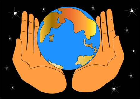 earth hands: illustration of the hand keeping globe and protecting him