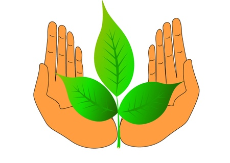 handful: illustration of the hand green nature care about life