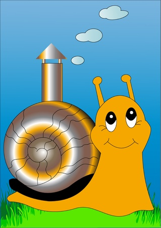 illustration snail with lodge, pipe with smoke  Vector