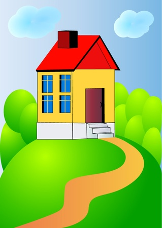 homeowner: illustration nice house on hillock with track