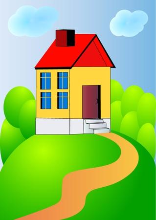 hillock: ilustraci�n bonita casa en la colina con la pista