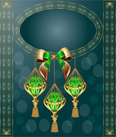 adornment: background with festive ball with bow and frame