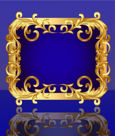 illustration decorative frame with pattern gold sheet Vector
