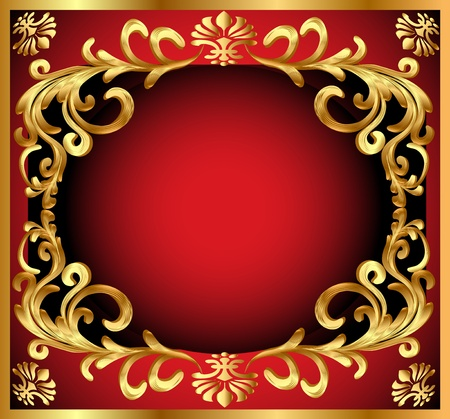 illustration background pattern gold on red background Stock Vector - 10997785