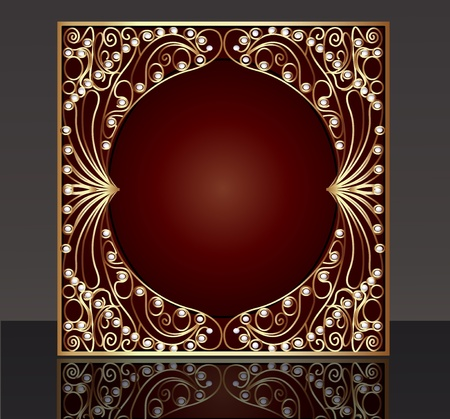 illustration frame with pattern from gold(en) wire with pearl and reflection Vector