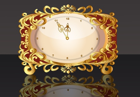 illustration old watch with gold(en) pattern and reflection Vector