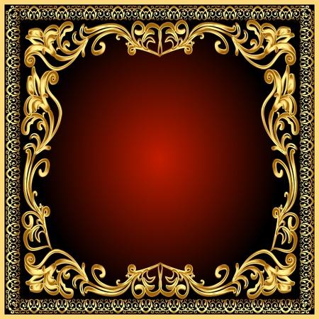 Fondo de marco de ilustración con el viejo patrón de gold(en)