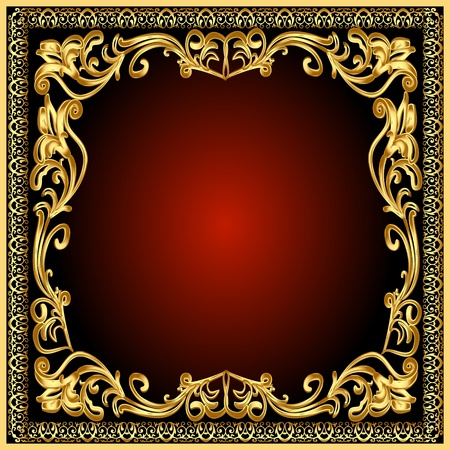 paper textures: illustration frame background with gold(en) old pattern
