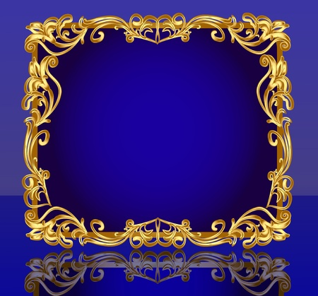 illustration frame background with gold(en) pattern and reflection Illustration