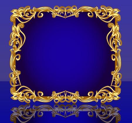 paper textures: illustration frame background with gold(en) pattern and reflection Illustration