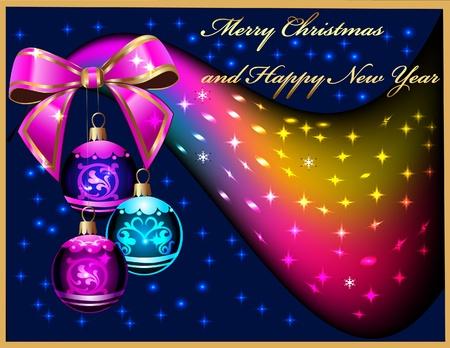 schwarz: illustration background festive balls with bow amongst stars