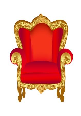 trono: ilustración de color rojo silla vieja con el ornamento de oro sobre fondo blanco