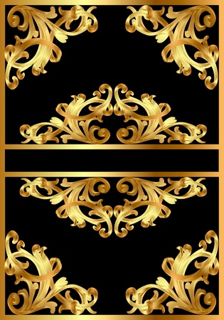 illustration frame background with gold pattern on black Stock Vector - 10997793