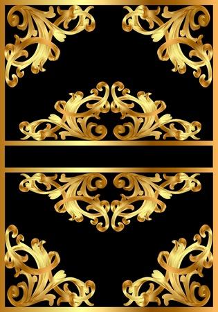 gild: illustrazione sfondo cornice con disegno in oro su nero Vettoriali