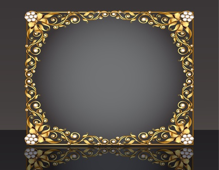 illustration frame background with gold pattern with reflection and bow Vector