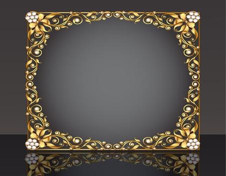 gild: sfondo cornice illustrazione con oro pattern con riflessione e fiocco