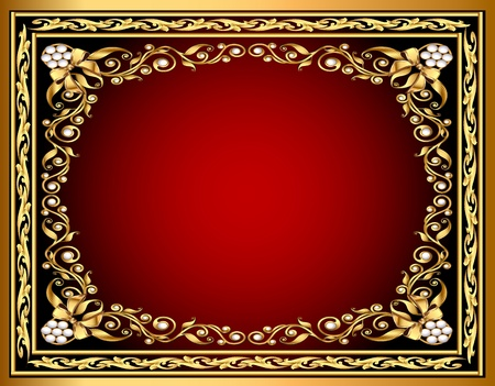 illustration frame background with gold pattern and bow Vector