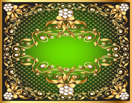 illustration frame background with gold pattern by net and bow Vector