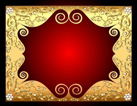 illustration frame gold with pattern by pearl and bow Vector