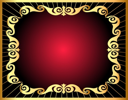 illustration background with gold by pattern and ray Stock Vector - 10997792