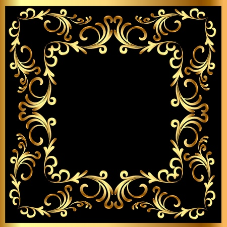 illustration background frame with vegetable gold(en) pattern Stock Vector - 11016563