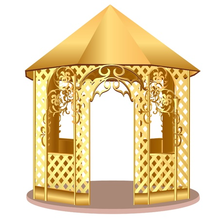 illustration summerhouse with winding ornament with flower Vector