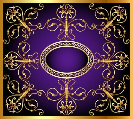 revival: illustration background with frame and east gold(en) pattern