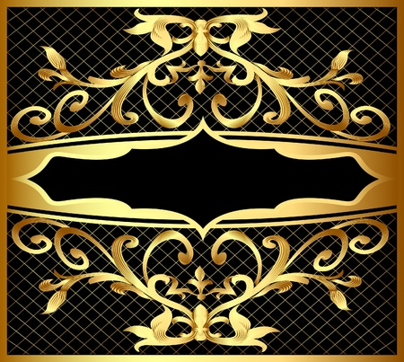 illustration background with frame and royal gold(en) pattern Vector