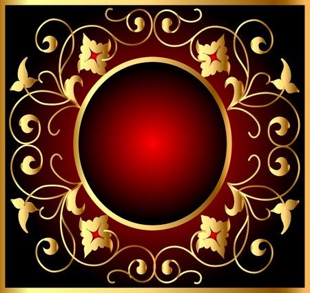 illustration background with frame and royal gold(en) pattern Vector