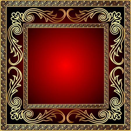 rococo: illustration background with frame and royal gold(en) pattern