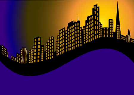 town modern home: illustration background with night city and high house