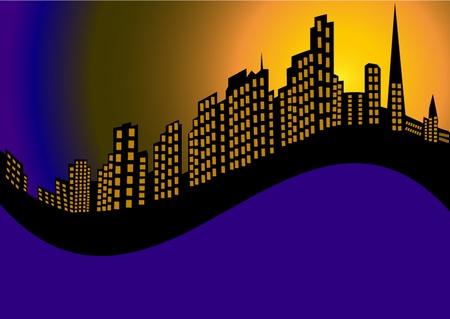 ilustración de fondo con la ciudad de la noche y la casa de alta Ilustración de vector