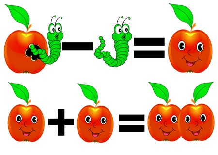plus minus: illustration merry mathematics apple plus minus caterpillar